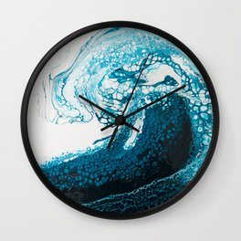Ocean Wave Acrylic Pour Wall Clock