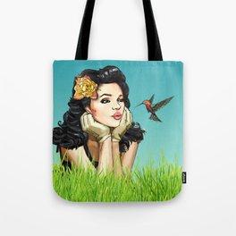 Retro Pinup Girl Smooching & Hummingbird Tote Bag