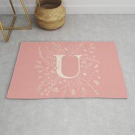 Botanical Letter U (Hibiscus Pink) Rug