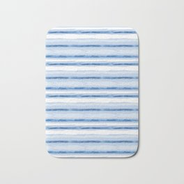 Watercolor Silent Sea Blue Stripes Bath Mat