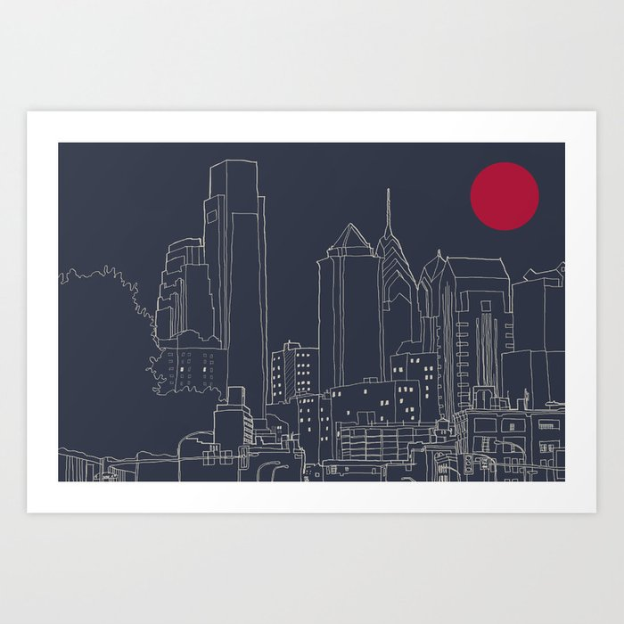 Philly blueprint art print by ralexandertrejo society6 philly blueprint art print malvernweather Choice Image