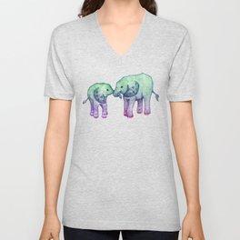 Baby Elephant Love - ombre mint & purple Unisex V-Neck