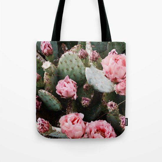 PINK CACTUS FLOWER ABSTRACT CLUSTER PATTERN Tote Bag