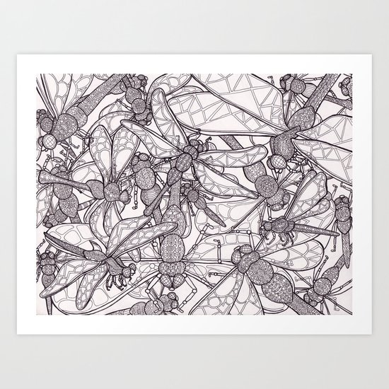Dragonfly Disco (outline) Art Print