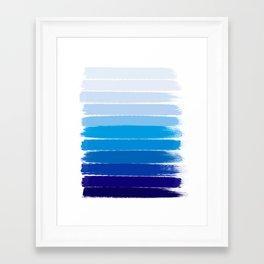 Kent - blue ombre brush strokes art Framed Art Print