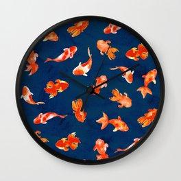 Watercolor Goldfish Pond - Moody Wall Clock