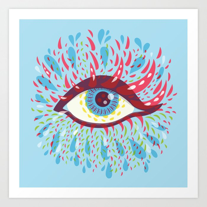 Weird Blue Psychedelic Eye Art Print