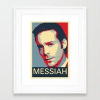 battlestar galactica Framed Art Prints featuring Baltar 'Messiah' design. Inspired by Battlestar Galactica. by hypergeek