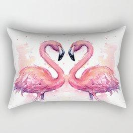 Flamingo Watercolor Two Flamingos in Love Rectangular Pillow