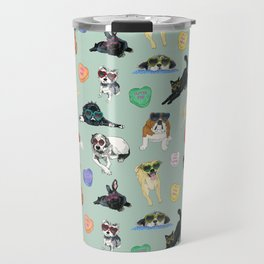 Valentine's Day Candy Hearts Puppy Love - Mint Green Travel Mug