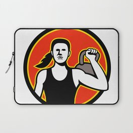 Female Personal Trainer Lifting Kettlebell Mascot Laptop Sleeve