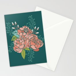 Moody Florals in Teal Stationery Cards