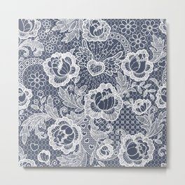 Lace. Roses and Heart. Metal Print