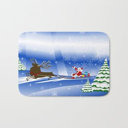 Santa Claus with christmas deer and presents Bath Mat