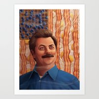swanson Art Prints featuring Ron Swanson by Lydia Guadagnoli