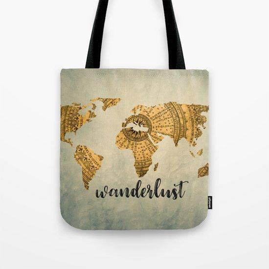 Wanderlust Vintage World Map Tote Bag