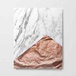 Marble & rose gold foil geometric design Metal Print
