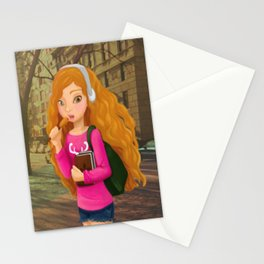 Girl with headphones Stationery Cards