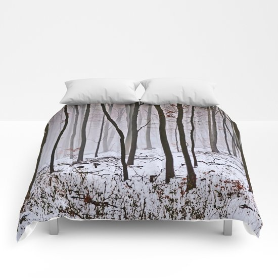 Foggy forest in winter Comforters