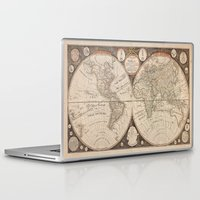 map of the world Laptop & iPad Skins featuring World Map by Le petit Archiviste