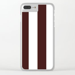 Wide Vertical Stripes - White and Dark Sienna Brown Clear iPhone Case