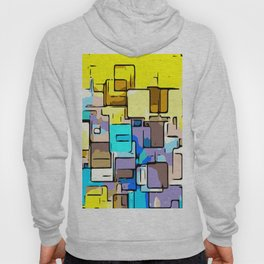 geometric graffiti square pattern abstract in yellow blue and brown Hoody