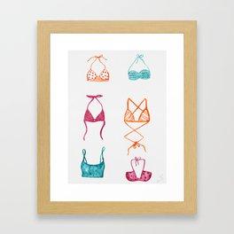 Swimsuit collection Pink // Blue // Orange Palette Framed Art Print