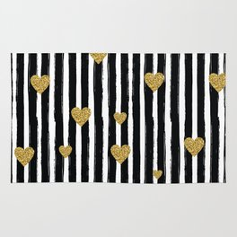 Gold Glitter Hearts Black and White Stripes Rug