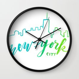 Skyline Paintings II New York Wall Clock