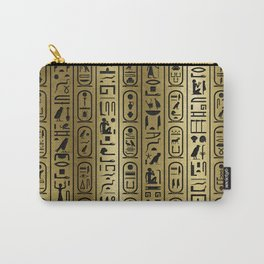 Black hieroglyphs pattern on Ancient Gold Carry-All Pouch