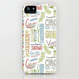 hand lettered italian word pattern iPhone Case