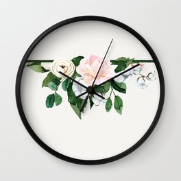 Roses and cotton upside down Wall Clock