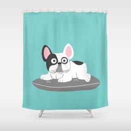 I love my bed - Lazy French Bulldog Shower Curtain