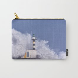 Stormy wave over lighthouse of San Esteban de Pravia. Carry-All Pouch