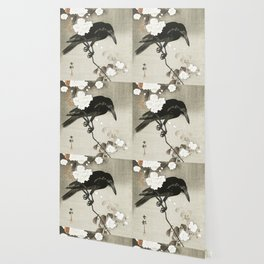 Raven on Cherry tree - Japanese vintage woodblock print Wallpaper