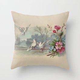 Vintage White Forest Birds Throw Pillow