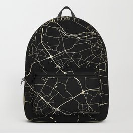 Dublin Ireland Black on Gold Street Map Backpack