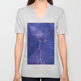 Purple Lightning Unisex V-Neck