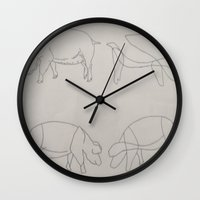 pigs Wall Clocks featuring Pigs by Melissa Roberts