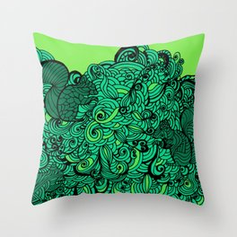 Squirrels Zentangle Drawing Green Throw Pillow