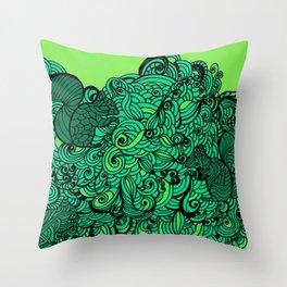 Squirrels Zentangle Drawing Green Throw Pillow