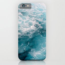 Foamy crystal clear, deep blue sea water | Travel photography from Greece | Natural surface pattern.  iPhone Case