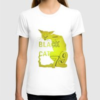 duvet cover T-shirts featuring BLACK CAT DUVET COVER by aztosaha
