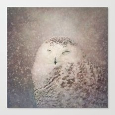 Snowy Owl in the snow Canvas Print