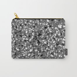 Dark Grey Monochrome Speckles Terrazzo Pattern Stone Effect Carry-All Pouch