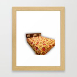 Indian tropical kantha blanket handmde fruit print bedcover  Framed Art Print