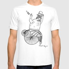 On wild and adventurous Penny-Farthling riders  White Mens Fitted Tee MEDIUM