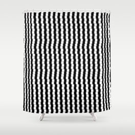 Offset Black and White Lines, Hypnotic Block Pattern Illustration Shower Curtain