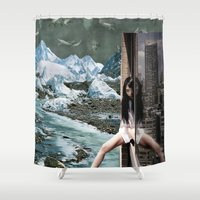 cycle Shower Curtains featuring City cycle by Jitka Kopejtkova