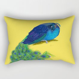 The Beauty That Sleeps - Vertical Peacock Painting Rectangular Pillow